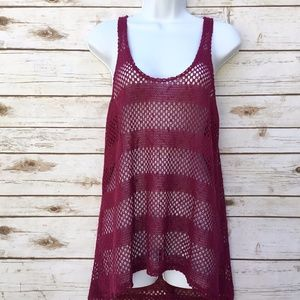 Pink Crochet Coverup Festival Top Urban Outfitter